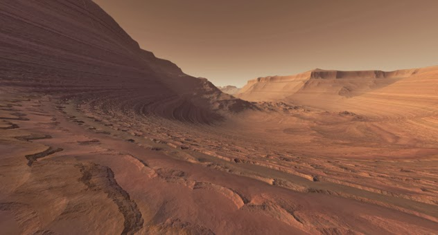 Mars Crater Valley